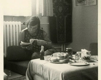 "Vintage Photo ""Morning Sustenance"" Man Reading Book Eating Snapshot Old Photo Black & White Photograph Found Paper Ephemera Vernacular - 111"