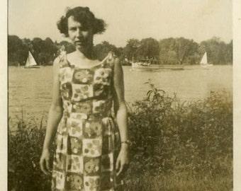 "Vintage Photo ""She Likes Sailboats"" Girl Wearing Dress Snapshot Old Photo Black & White Photograph Found Paper Ephemera Vernacular - 186"