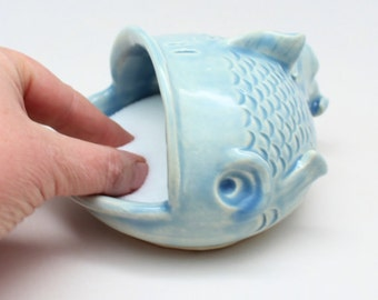 Pottery Fish Pig, or Salt Cellar MADE PER ORDER, Cook's Gift, Bath Salts Dish, Jewelry Fishy Dish, Sponge Holder, Dip Server