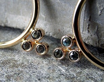 Teal Sapphire & 14K Yellow Gold Hoop Earrings