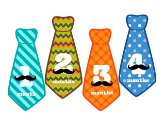 ONESIES® Shirt with Baby Monthly Mustache Tie Stickers