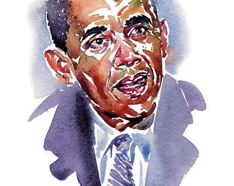 Obama, limited edition fine art (giclée) print, 12 x 16 inches( 30.5 x 40.5 cm.)