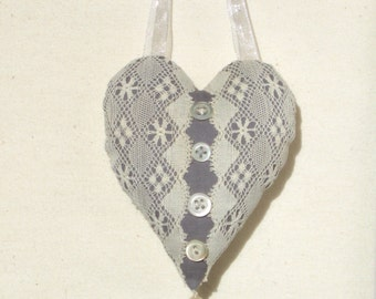 Cream antique lace heart ornament with vintage buttons, Valentine heart