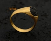 Valentine Sale Black Lava Ring, 18k gold plated - natural stone, textured,Jewelry for him, men's ring, pinky ring, handmade ring, unique