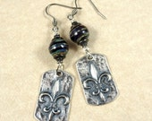 Fleur de Lis Charm Earrings with Artisan Handcrafted Lampwork Beads - One of a Kind - Rustic Artisan Earrings with Silver Fleur de Lis