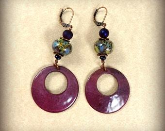 Artisan Purple Charm Earrings, Lampwork Beads and Enameled Charms, Plum Purple Earrings - Large Hoop with Handcrafted Lampwork Beads
