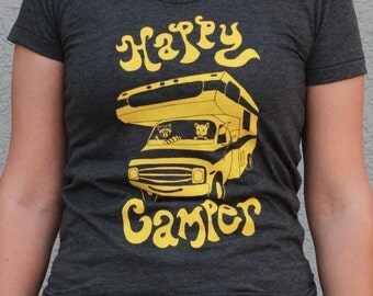Screenprinted by hand Happy Camper Motorhome, Fox and Raccoon. Original artwork on women's gray American Apparel T Shirt