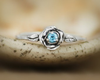 Swiss Blue Topaz Delicate Rose Engagement Ring in Sterling - Silver Unique Rose Anniversay Promise Ring - December Birthstone Ring
