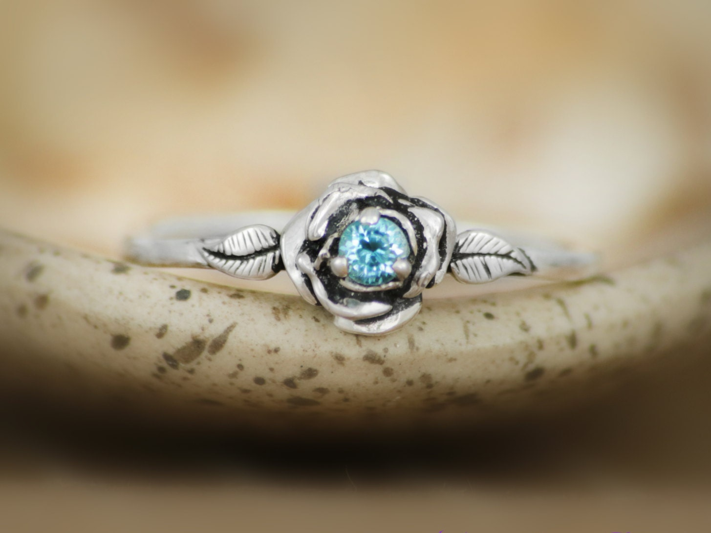 Swiss Blue Topaz Delicate Rose Engagement Ring In Sterling