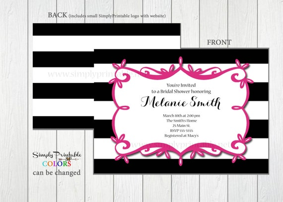 Bridal Shower Invitation, Wedding Shower Invite, Black Pink Striped, Modern Invite