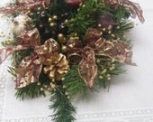 Christmas Centerpiece, Cranberry Centerpiece, Christmas Decor, Centerpiece with Candle, Table Centerpiece, Gold Cranberry SnowNoseCrafts