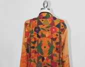 90s Vintage Boho Jacket Incredible Artisan Embroidery Birds Zip Up Art Coat
