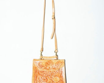 Vintage Tooled Leather  Bag, Natural Paraguay Leather Bag