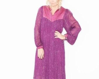 Vintage 70s India Cotton Gauze Dress , BOHO Hippie India Dress , India Lurex Dress