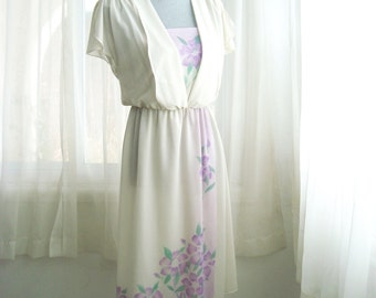 1970's Ethereal Semi Sheer Summer Dress in Lilac and Mint Green Floral, Size Small