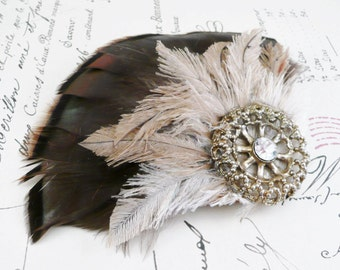 Brown and Cream Fascinator, Feather Fascinator Hair Clip and Brooch with Vintage Gold Wheel Medallion