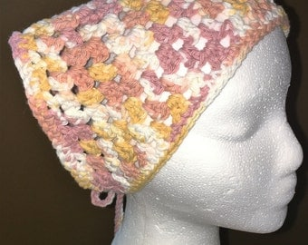Hand Crocheted Cotton Triangle Scarf, Head Scarf, Kerchief in Beige, White and Gold