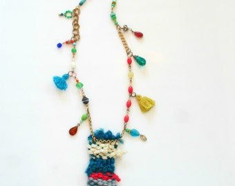 Handwoven Pendant Glass beaded Swarovski Crystal Necklace ~ Free Shipping U.S.