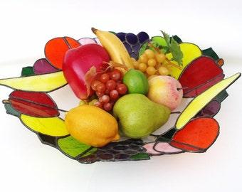 Vintage Centerpiece Bowl Stain Glass Style Plexiglass Art Large Fruit Basket Faux Fruits