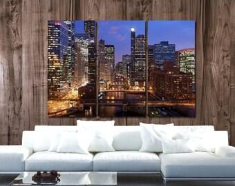 Chicago Wall Art chicago skyline on canvas brite night chicago art large
