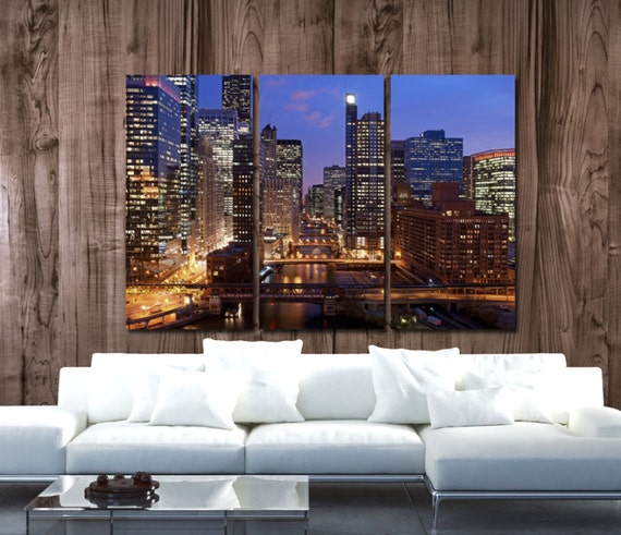 Chicago Skyline Canvas Set Large Wall Art Of Chicago Print