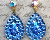 Blue Teardrop Earrings, Sapphire Blue Earrings, Sapphire Blue