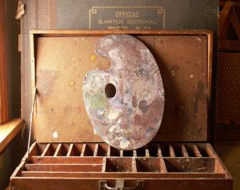 Vintage Artist's Paint Box with Colorful Palette