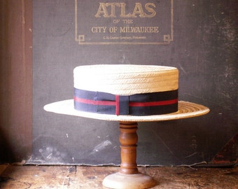 Vintage Men's Straw Boater Hat with Red and Blue Grosgrain Ribbon - size 7 1/8 -  Great Guy Gift!