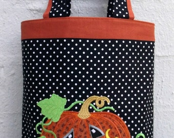 Halloween Trick or Treat Tote with Pumpkin Applique Design