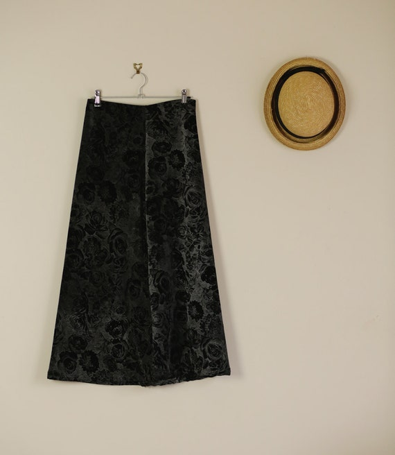vintage 90s vevet black and grey maxi skirt by alteredstatesau