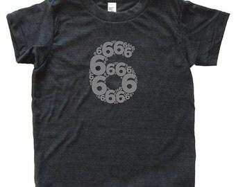 Birthday Shirt - Sixth Birthday Number 6 - Kids Tshirt - Tee - Youth Girl Shirt / Boy Shirt / Super Soft Triblend Party 6th Birthday