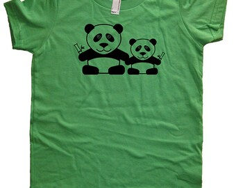 Panda Shirt - Panda Pair Kids Tee - Boys or Girls Pandas Shirt - 8 Colors Available - T shirt Sizes 2T, 4T, 6, 8, 10, 12 - Gift Friendly