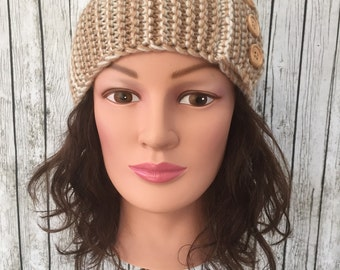 Beige knit headband ear muffs ear warmers button accents