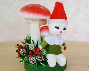 Vintage Holiday Snowman with Mushrooms and Pine Cones Figurine