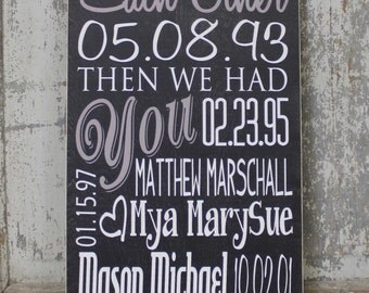 Special Family Dates Sign on Wood or Canvas, First We Had Each Other Then We Had You Sign with Name and Dates, Custom