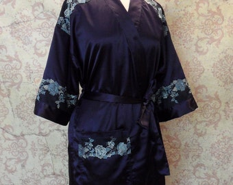 Midnight Rose Luxury Lingerie Robe // Satin & Embroidered Lace