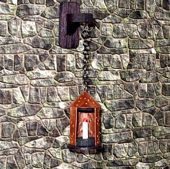 Rustic Copper Lantern & Wall Bracket Dollhouse Miniature 1/12
