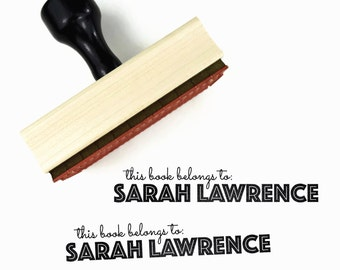 Custom Bookplate Stamp - Personalized Name - This Book Belongs To Ex Libris Rubber Stamp