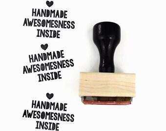 Rubber Stamp Handmade Awesomeness Inside - DIY Packaging Branding Stamp