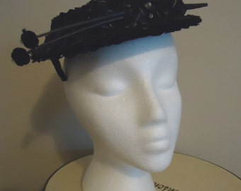 Vintage Hat, Retro Hat, Derby Hat, Womens Accessories, Boho style, French vintage, Black Woven fascinator