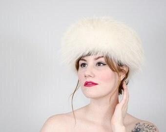 1960s vintage hat / fur hat / white fox fur hat by Marché