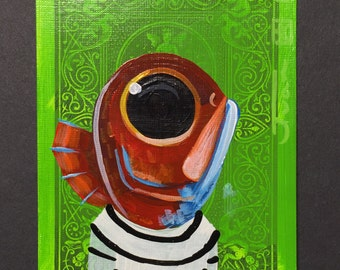 Red Fish portraiton a playing cards. Original acrylic painting. 2013