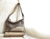 Handbag in Brown Leather and Beige Weave Rugged Natural Edges - Made to Order