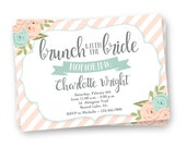Brunch with the Bride Invite, Floral Bridal Shower Invite, Bridal Brunch Invitation, Brunch Invite, Kraft Paper Invitation