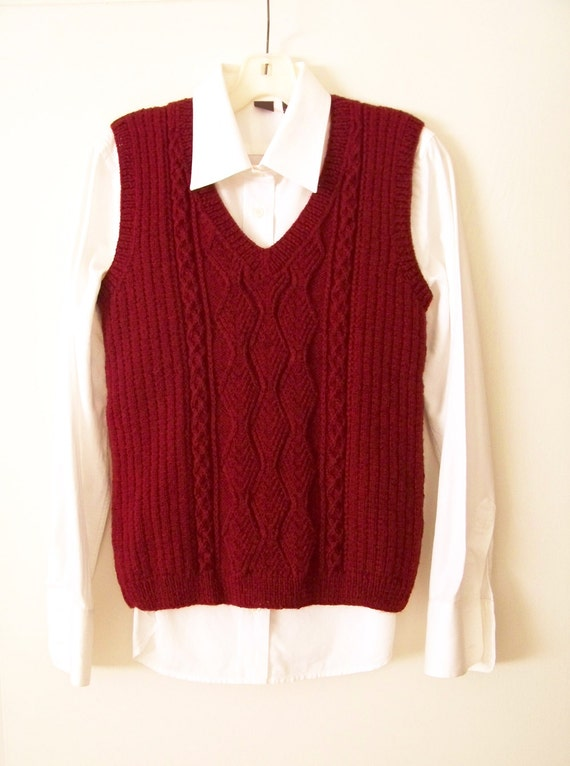 Aran Vest Knitting Pattern : Items similar to Aran Cable Knit Vest, Hand Knit Sweater ...