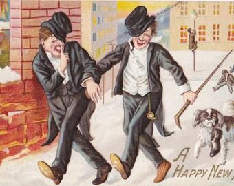 Drunken Escapades- 1900s Antique Postcard- Happy New Year- Edwardian Humor- Drunk Comic- Dog With Shoe- Copr E Nash- Paper Ephemera