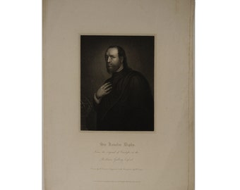 Antique Engraving Early 1825  Sir Kenelm Digby, Engraving by R. Cooper after H. Crease, Lackington Allen & Co Engraved Portrait