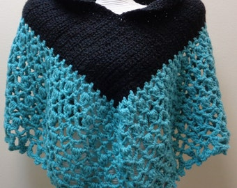 V Neck Plus Size Black and Teal Poncho - Chunky Black Teal Capelet Poncho - Teal Crochet Poncho - Black Crochet Poncho - by lanesamarie