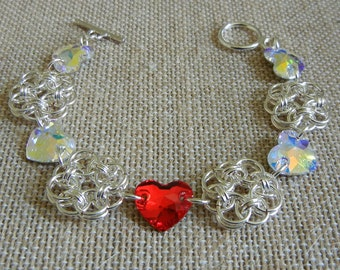 Hearts and Helm Chainmaille Bracelet - Sweetheart Edition