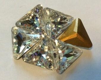 Vintage Swarovski Triangle Crystal Rhinestones 10mm QTY - 2